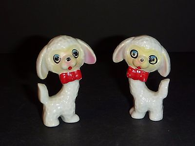 Pr Vintage Mid Century Ceramic Poodle Dog Figurines with Red Bow Tie