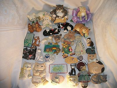 Lot Of 32  Cat Magnets And Figurines