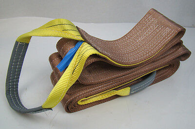 """6"""" x 24' Brown Heavy Duty Nylon Sling Tow Recovery Strap 12,000 lbs Single Ply"""