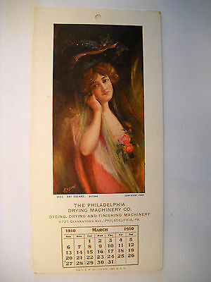 PHILADELPHIA DRYING MACHINERY CO 1910 ANTIQUE Advertising calendar LITHO PHIL PA