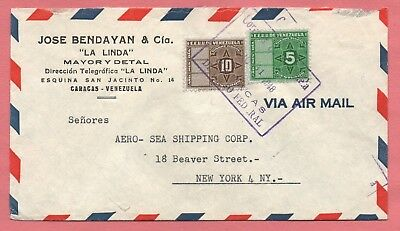 1948 Venezuela Caracas Fiscals Multi Franked Air Mail Cover To Usa