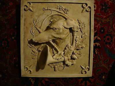 Greyhound wall stone plaque art home decor sculpture animal dog hunting relief