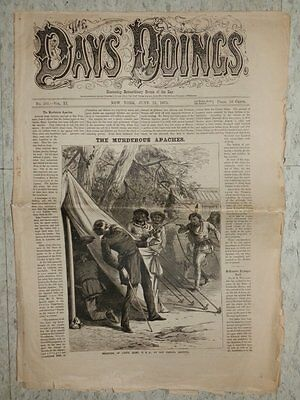 DAYS' DOINGS ILLUSTRATING EXTRAORDINARY EVENTS Newspaper MURDEROUS APACHES 1873