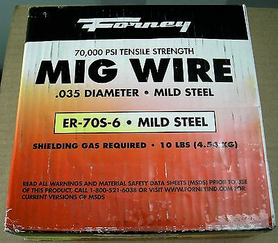 WELDING SUPPLIES: Forney MIG WIRE .035 diameter mild steel ER-70S-6 10lbs, 1 EA.