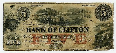1859 $5 The Bank of Clifton, CANADA Note