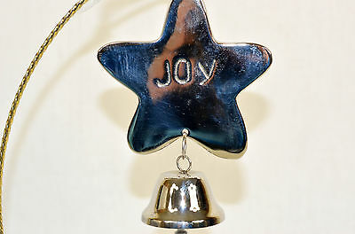 Silver Joy Star with Bell Christmas Tree Ornament new