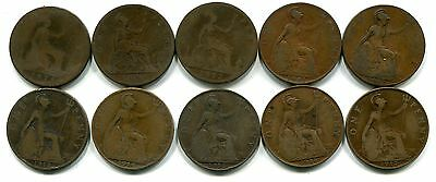 Great Britain, Lot of 41 Different Pennies 1875 to 1967, Circulated