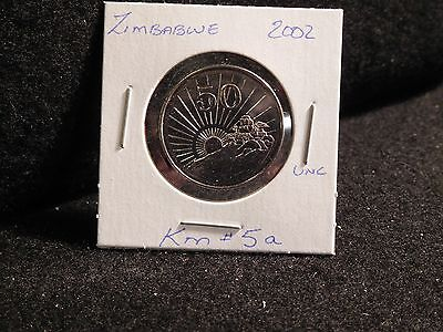 ZIMBABWE:   2002     50 CENTS   COIN     (UNC.)    (#196)  KM # 5 a