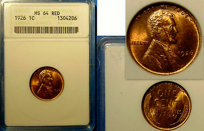 USA:LINCOLN WEAT CENT 1926 RED - MS64 GRADED by ANACS.