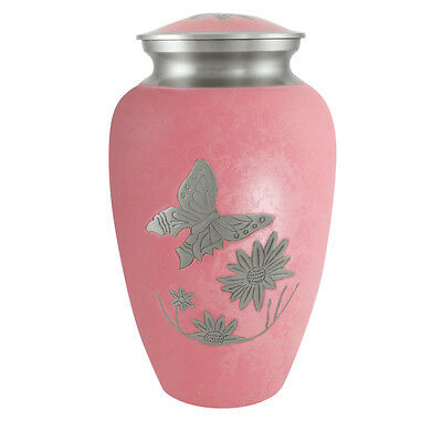 Perfect Memorials Large Pink Butterfly Flower Brass Cremation Urn