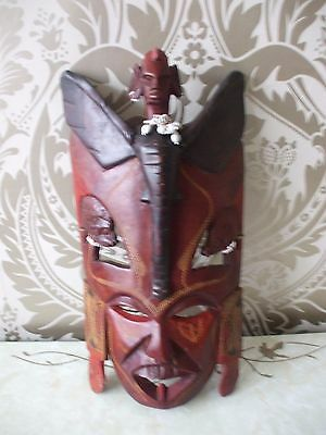 """Vintage Retro Wooden Tribal African Wall Head Mask 16"""" Long"""