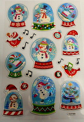 *snow Globes* Christmas Stickers Pop-Up With Foil  - Scrapbooking  -  Cardmaking