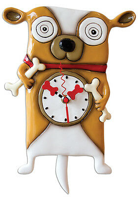 New MICHELLE ALLEN Designs WALL CLOCK Decor BULLDOG DOG Swinging Pendulum BONE