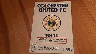 Colchester United v Tranmere Rovers  Programme 29/3/85