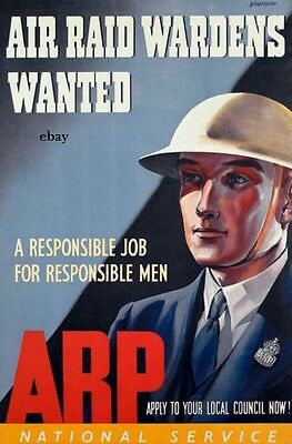 Ww2 Recruiting Poster Air Raid Warden Arp Civil Defence New A4 Print Home Front