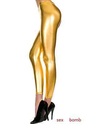 SEXY leggings ORO Lucidi METAL LOOK taglia unica donna CLUB Fashion GLAMOUR !