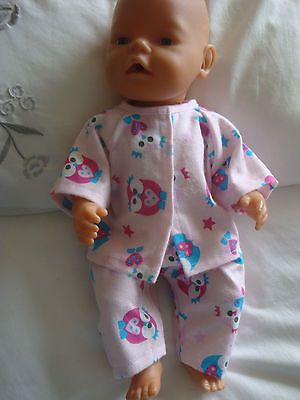"DOLLS CLOTHES - Pyjamas to fit 17"" Baby Born doll ~ Pink ~ Owls"
