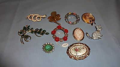 Job Lot / Collection Of 10 Ladies Costume Jewellery Brooches - Lot 2