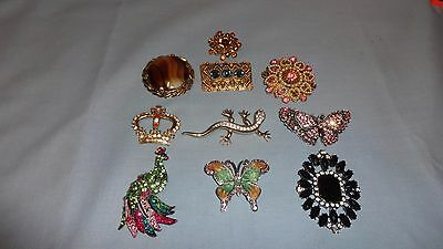 Job Lot / Collection Of 10 Ladies Costume Jewellery Brooches - Lot 4
