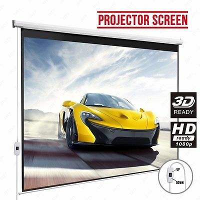100'' 16:9 HD Electric Projection Screen Matte White Pull Down Projector Cinema
