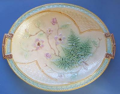 Majolica Antique Pottery Oval Dish Flowers and Leaves