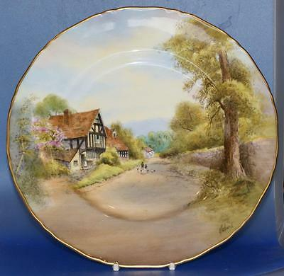 Royal Worcester Porcelain Hand Painted Cropthorne Cabinet Plate Signed Roberts