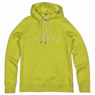Under Armour Ladies Warm Up Logo Hooded Sweatshirt Ua Loose Fit Yellow