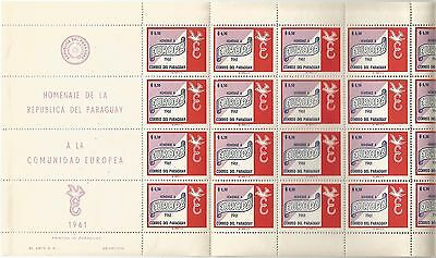 PARAGUAY. 1961. EUROPA Set in Full Sheets. SG: 959/63. Mint Never Hinged.
