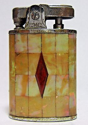 Vintage CMC Lighter,Gold Lip Mother Of Pearl Inlays,Made In Japan, Working Cond.
