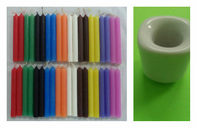 4 Sets of 10 Spell Candles = 40 Candles & 1 White Ceramic Mini Candle Holder