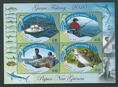 Papua New Guinea 2010 Game Fishing Sheetlet Of 4  Unmounted Mint,mnh