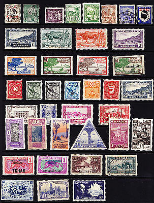 French Colonies Stamps 75+ over Two Pages Great Selection from Old Album GCV