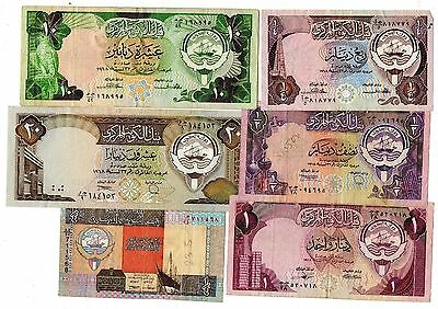 Kuwait 6 Different Banknotes 1980's - 1990's