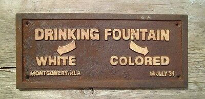 Black Segregation Sign DRINKING FOUNTAIN WHITE / COLORED -  Cast Iron