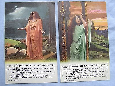 SONG POSTCARDS x 2 - LEAD KINDLY LIGHT - BAMFORTH - c.1916