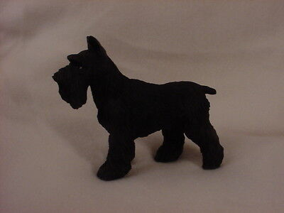 SCHNAUZER FIGURINE dog HAND PAINTED Statue BLACK CROPPED Puppy COLLECTIBLE resin