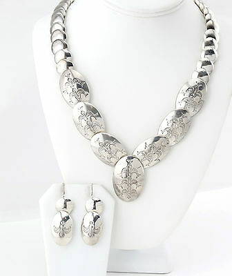 Vtg Sterling Silver Navajo Corn Stamped Pillow Bead Necklace Earrings Set