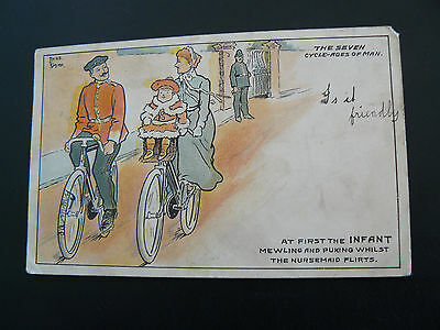 The Seven Cycle ages of Man Postcard - Bicycle - Fanny Jones Hafod Swansea