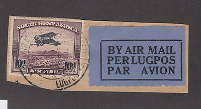 South West Africa # 65 On Superb Piece Airmail Town Cancel Cat Value $85++++