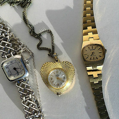 Lot of 3 Vintage watches wristwatch and necklace watch Buler, Sekonda