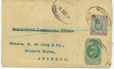 2468 1902 VF EVII ½ D postal stationery wrapper uprated w 4D to Belgium REGISTER