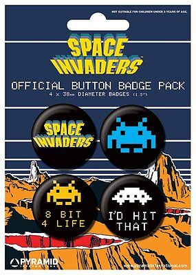Button Badge 4er Pack SPACE INVADERS - Retro - 8 Bit, 4 Life - I´d Hit That 38mm