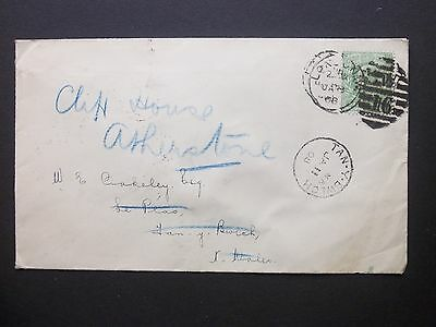 1908 KEVII 1/2d Envelope W 16 LONDON Duplex to Tan y Bwlch redirected Atherstone