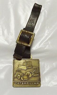 Vintage Caterpillar Brass Watch Fob Bulldozer Wheel and Track Loader Advertising