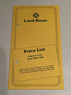 1976 Land Rover Uk Price List 3192/a