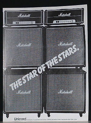 1979 Marshall stacked guitar amps star of the stars print Ad