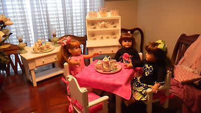 18 Inch Doll Dining Room Set Table 4 Chairs.. Hutch & Buffett Free Cussion & T