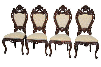 Antique Italian Baroque Dining Chairs With Carved Figures Compete Set of Four