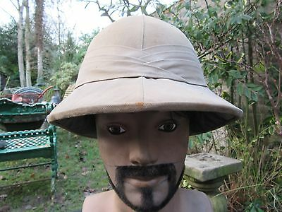 """Vintage Pith Helmet c1920 in Excellent Condition Large Size Inside Band 23"""""""