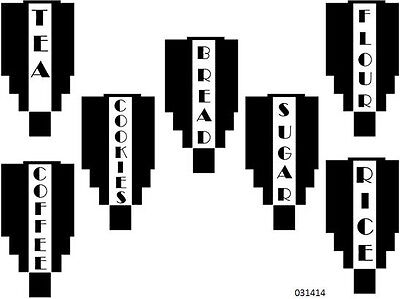 NeW! BLaCk ArT DeCo VeRTiCaL CaNisTeR LaBeLs WaTerSLiDe DeCALs